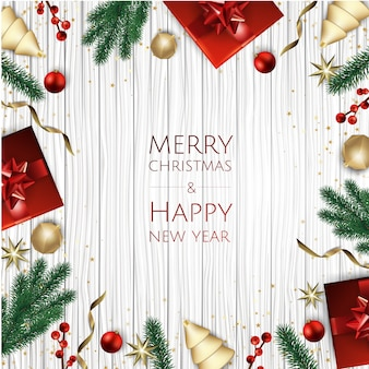 Fondo feliz navidad con caja de regalo, copos de nieve y bolas.