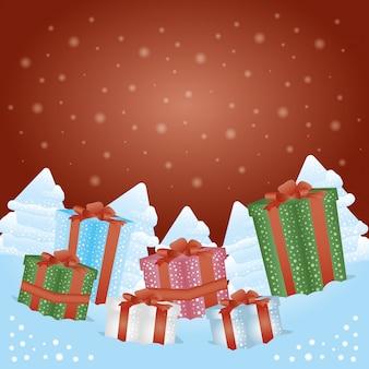 Fondo feliz navidad con cajas de regalo presenta