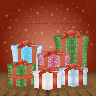 Fondo feliz navidad con cajas de regalo