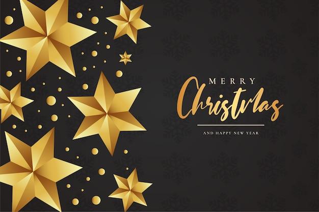 Fondo de feliz navidad con composición de estrellas de navidad doradas
