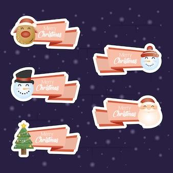 Fondo feliz navidad con conjunto de personajes