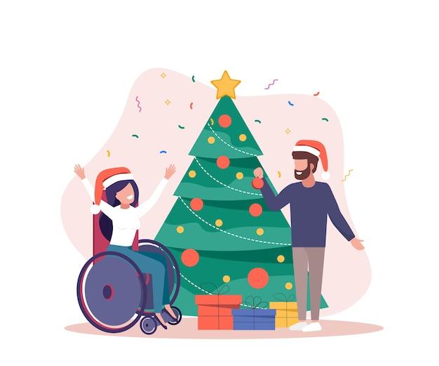 Fondo feliz navidad con discapacitados