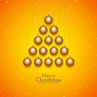 Fondo de feliz navidad con diseño de árbol de bolas