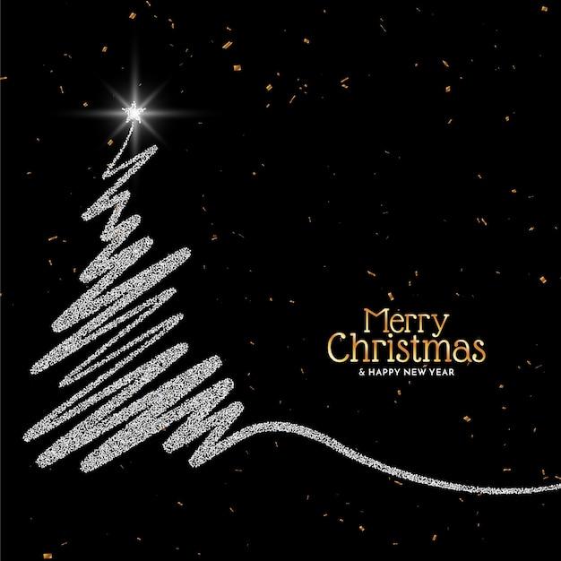 Fondo de feliz navidad con diseño de árbol de brillos