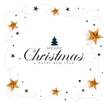 Fondo de feliz navidad con diseño de estrellas doradas