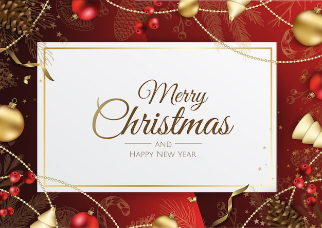 Fondo feliz navidad con elementos navideños