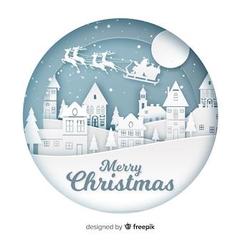 Fondo de feliz navidad en estilo de arte de papel