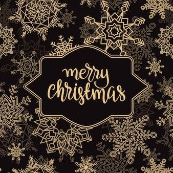 Fondo de feliz navidad y feliz año nuevo con copos de nieve.
