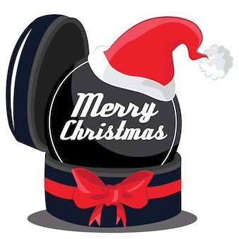 Fondo de feliz navidad con gran cinta rosa y gorro de papá noel.