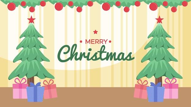 Fondo de feliz navidad en la habitación hay árboles, regalos.