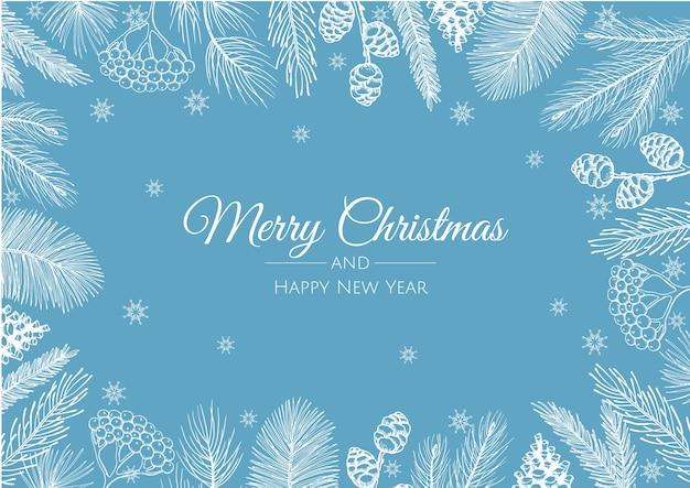 Fondo de feliz navidad con hermoso marco con ramas de pino y conos