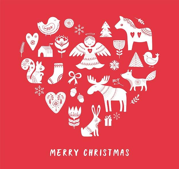 Fondo de feliz navidad con ilustraciones de estilo escandinavo y nórdico dibujadas a mano