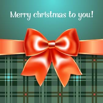 Fondo feliz navidad con lazo de cinta roja, 10eps