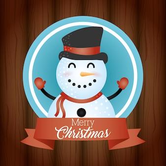 Fondo feliz navidad con lindo personaje de muñeco de nieve