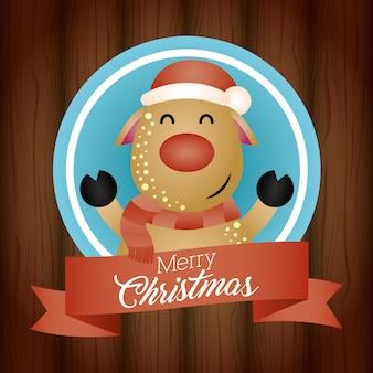 Fondo feliz navidad con lindo personaje de renos