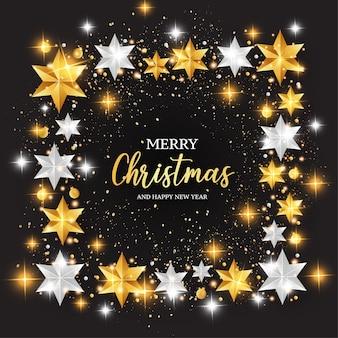 Fondo feliz navidad con marco de estrellas