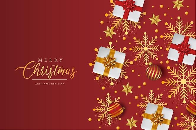 Fondo de feliz navidad con patrón de navidad realista