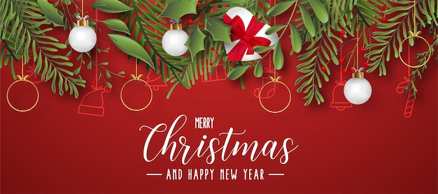 Fondo de feliz navidad y próspero año nuevo con diseño de hojas planas