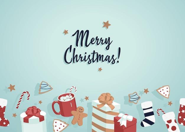 Fondo de feliz navidad con regalos, galletas, calcetines y estrellas