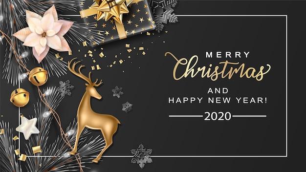Fondo de feliz navidad con regalos de ramitas de abeto y ciervos de navidad