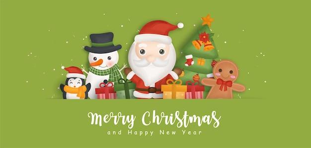 Fondo feliz navidad con santa claus y elementos navideños.