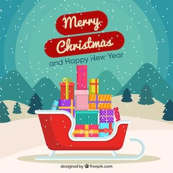 Fondo de feliz navidad de trineo con regalos