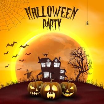Fondo feliz de la noche de halloween con la casa asustadiza encantada y la luna llena.