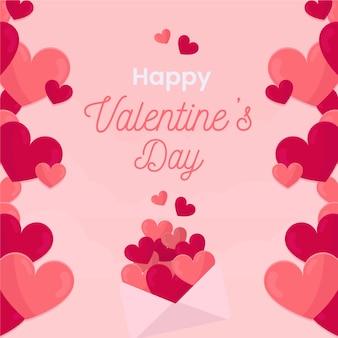 Fondo feliz san valentín con corazones de color rosa