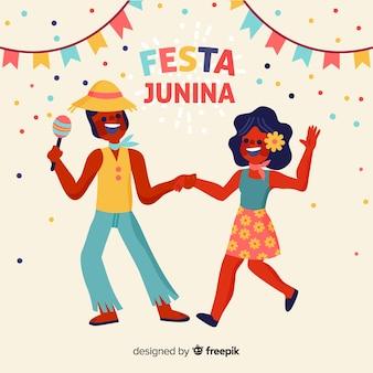 Fondo de festa junina en diseño plano