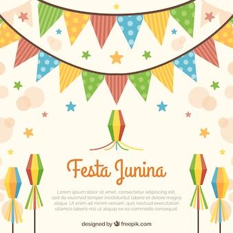 Fondo de festa junina con guirnaldas y cometas