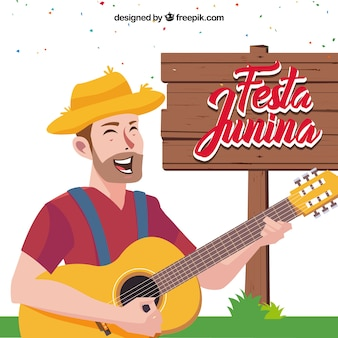 Fondo de festa junina de hombre tocando la guitarra