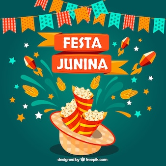 Fondo de festa junina con maíz y guirnaldas
