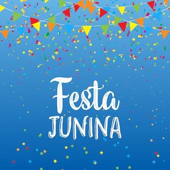 Fondo de festa junina con pancartas y confeti.