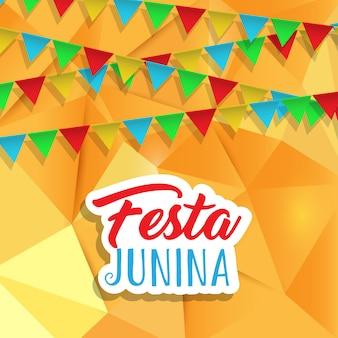 Fondo de festa junina con pancartas en diseño de baja poli.