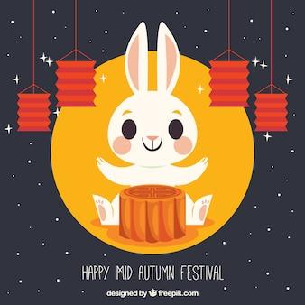 Fondo de festival adorable de mediados de otoño con pastel de luna