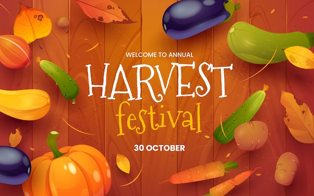 Fondo de festival de la cosecha de dibujos animados