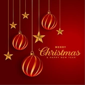 Fondo de festival decorativo de bolas de navidad y estrellas doradas