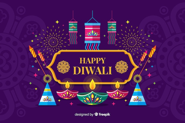 Fondo de festival de diwali de diseño plano con velas