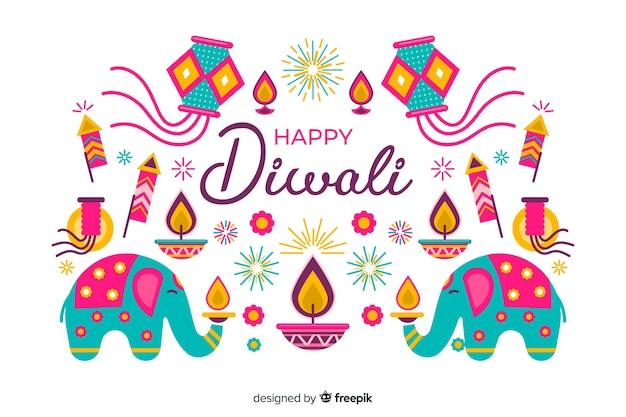 Fondo de festival de diwali de diseño plano