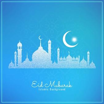 Fondo del festival eid mubarak con mezquita punteada