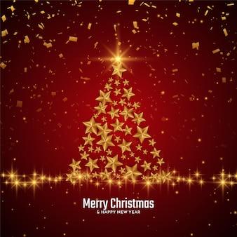 Fondo de festival de feliz navidad con árbol de estrellas doradas