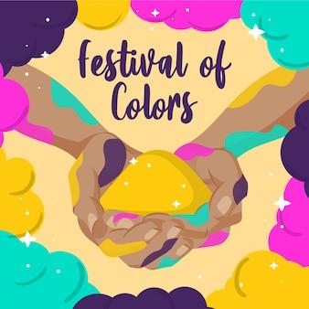 Fondo de festival holi dibujado a mano