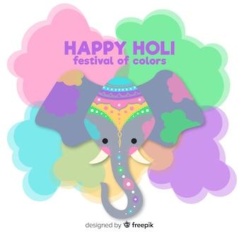 Fondo festival holi elefante adorable