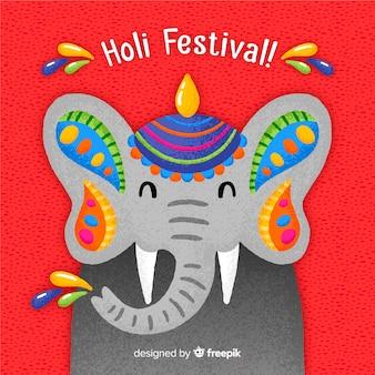 Fondo festival holi elefante dibujado a mano