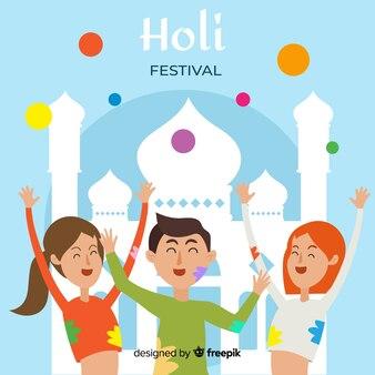 Fondo festival holi gente divirtiéndose