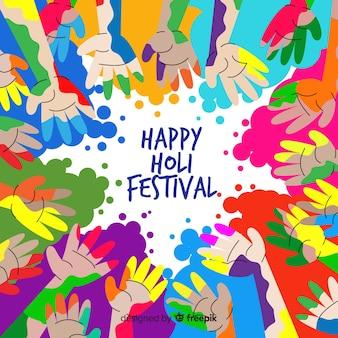 Fondo festival holi manos sucias