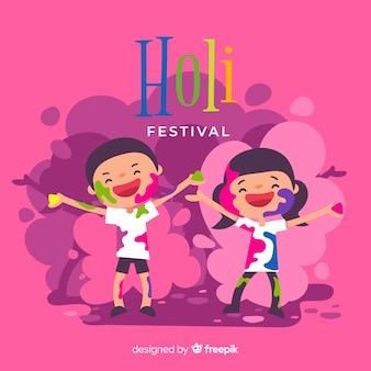 Fondo festival holi niños dibujados a mano