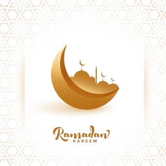 Fondo de festival de luna dorada y mezquita ramadan kareem
