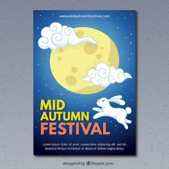 Fondo del festival de mediados de otoño con conejo y luna