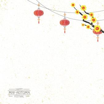 Fondo de festival de mediados de otoño con ilustración de conejito